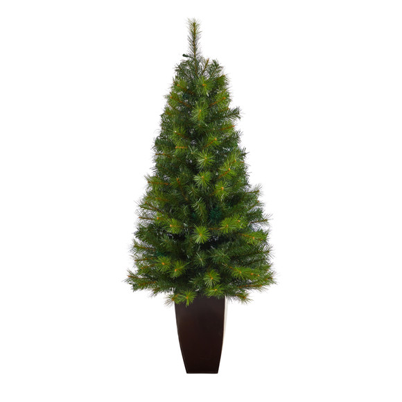 5 Green Valley Pine Artificial Christmas Tree with 100 Warm White LED Lights and 201 Bendable Branches in Bronze Metal Planter - SKU #T2299 - 2