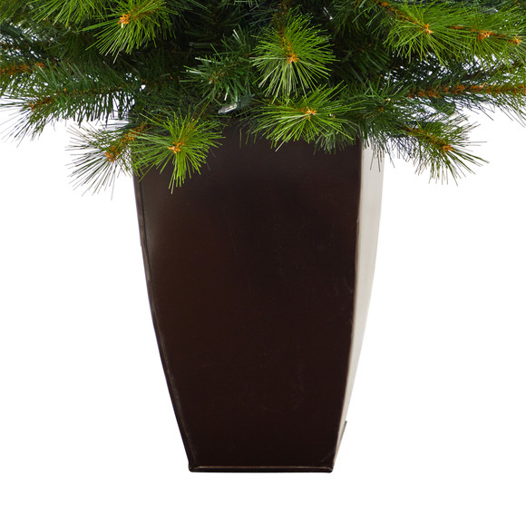 5 Green Valley Pine Artificial Christmas Tree with 100 Warm White LED Lights and 201 Bendable Branches in Bronze Metal Planter - SKU #T2299 - 5