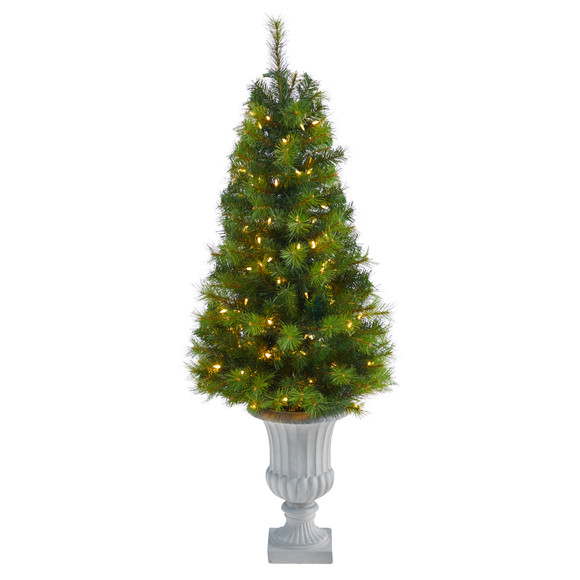4.5 Green Valley Pine Artificial Christmas Tree with 100 Warm White LED Lights and 201 Bendable Branches in Decorative Urn - SKU #T2300