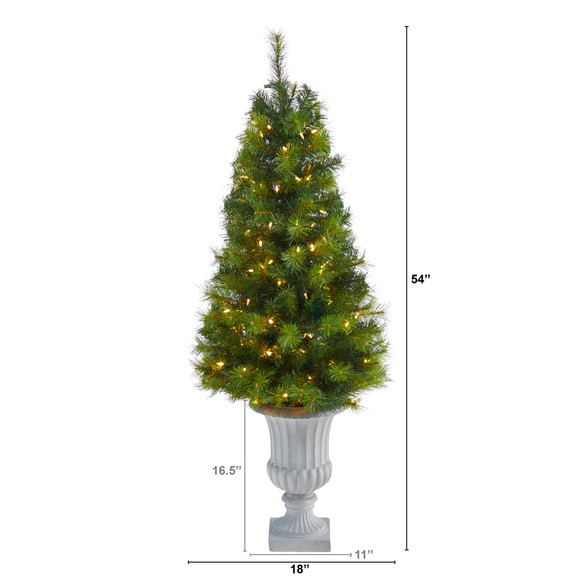 4.5 Green Valley Pine Artificial Christmas Tree with 100 Warm White LED Lights and 201 Bendable Branches in Decorative Urn - SKU #T2300 - 1