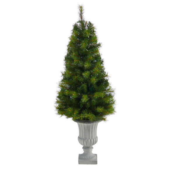 4.5 Green Valley Pine Artificial Christmas Tree with 100 Warm White LED Lights and 201 Bendable Branches in Decorative Urn - SKU #T2300 - 2