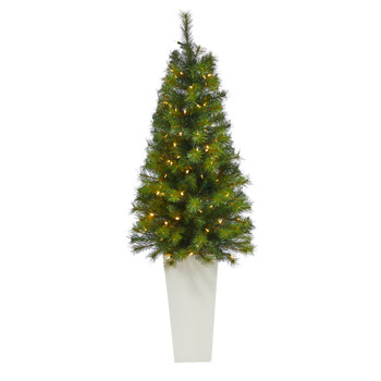 57 Green Valley Pine Artificial Christmas Tree with 100 Warm White LED Lights and 201 Bendable Branches in Tall White Planter - SKU #T2301