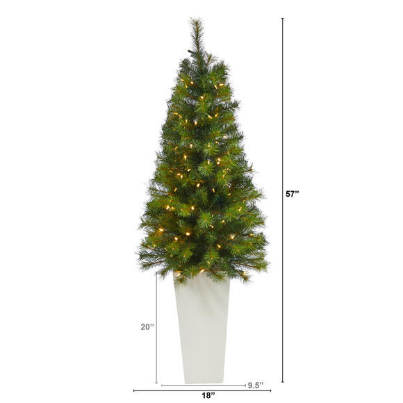 57 Green Valley Pine Artificial Christmas Tree with 100 Warm White LED Lights and 201 Bendable Branches in Tall White Planter - SKU #T2301 - 1
