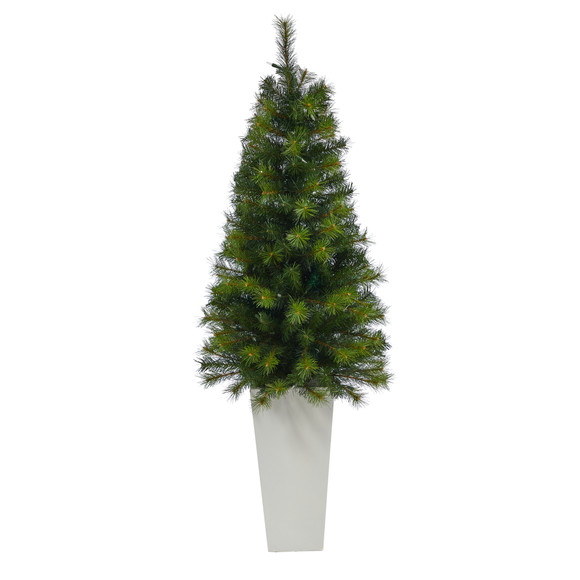 57 Green Valley Pine Artificial Christmas Tree with 100 Warm White LED Lights and 201 Bendable Branches in Tall White Planter - SKU #T2301 - 2
