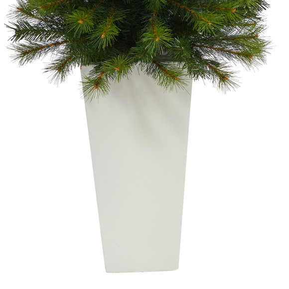 57 Green Valley Pine Artificial Christmas Tree with 100 Warm White LED Lights and 201 Bendable Branches in Tall White Planter - SKU #T2301 - 5