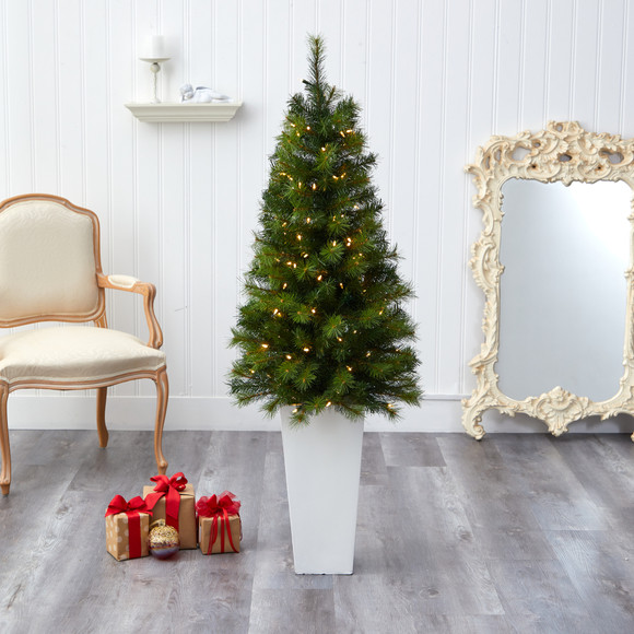 57 Green Valley Pine Artificial Christmas Tree with 100 Warm White LED Lights and 201 Bendable Branches in Tall White Planter - SKU #T2301 - 6