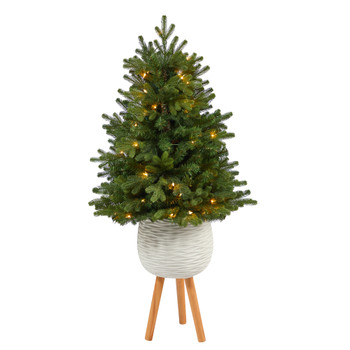 4 Washington Fir Artificial Christmas Tree with 50 Clear Lights in White Planter with Decorative Planter Stand - SKU #T2302