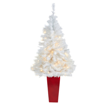 4.5 White Artificial Christmas Tree with 100 Clear LED Lights in Red Planter - SKU #T2307