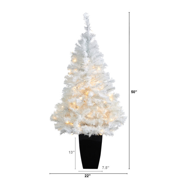 50 White Artificial Christmas Tree with 100 Clear LED Lights in Black Metal Planter - SKU #T2309 - 1