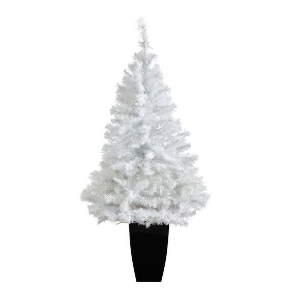 50 White Artificial Christmas Tree with 100 Clear LED Lights in Black Metal Planter - SKU #T2309 - 2
