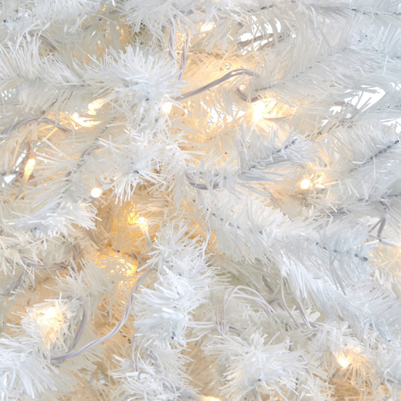 50 White Artificial Christmas Tree with 100 Clear LED Lights in Black Metal Planter - SKU #T2309 - 3