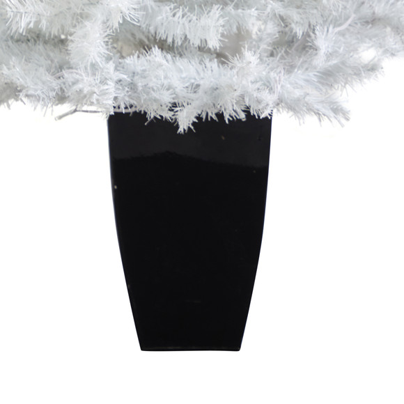 50 White Artificial Christmas Tree with 100 Clear LED Lights in Black Metal Planter - SKU #T2309 - 5