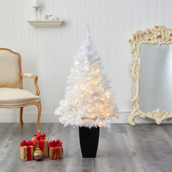 50 White Artificial Christmas Tree with 100 Clear LED Lights in Black Metal Planter - SKU #T2309 - 6