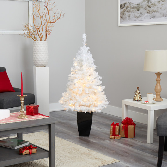 50 White Artificial Christmas Tree with 100 Clear LED Lights in Black Metal Planter - SKU #T2309 - 7