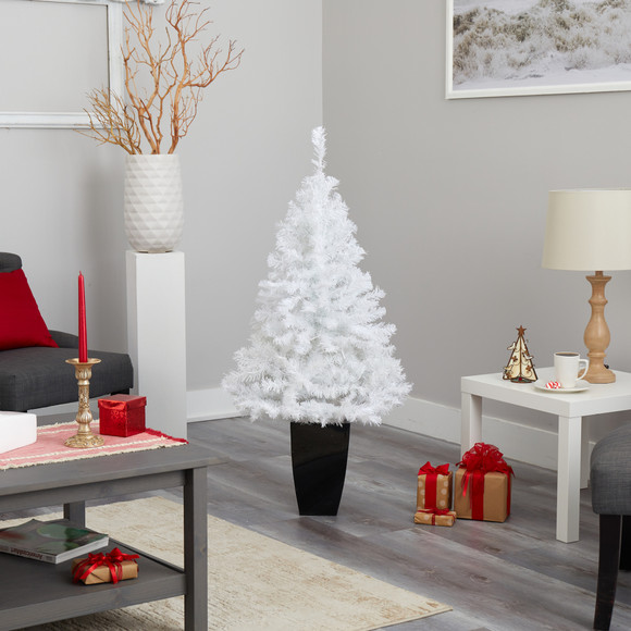 50 White Artificial Christmas Tree with 100 Clear LED Lights in Black Metal Planter - SKU #T2309 - 8