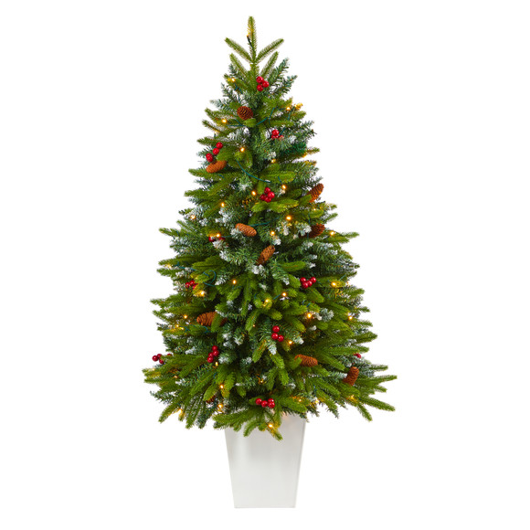 56 Snow Tipped Portland Spruce Artificial Christmas Tree with Frosted Berries and Pinecones with 100 Clear LED Lights in White Metal Planter - SKU #T2310