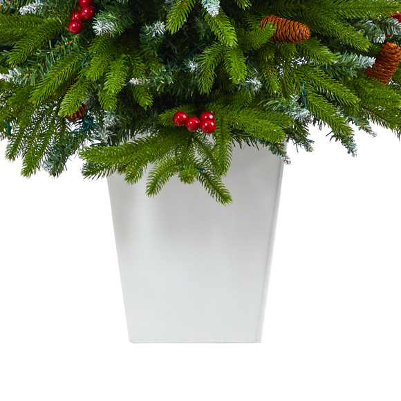 56 Snow Tipped Portland Spruce Artificial Christmas Tree with Frosted Berries and Pinecones with 100 Clear LED Lights in White Metal Planter - SKU #T2310 - 5