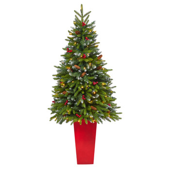 62 Snow Tipped Portland Spruce Artificial Christmas Tree with Frosted Berries and Pinecones with 100 Clear LED Lights in Red Tower Planter - SKU #T2311