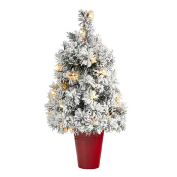 2 Flocked Artificial Christmas Tree with 30 Clear LED Lights in Burgundy Vase - SKU #T2312