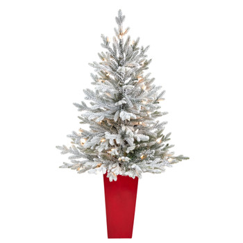 4 Flocked Fraser Fir Artificial Christmas Tree with 200 Warm White Lights and 481 Bendable Branches in Red Planter - SKU #T2315