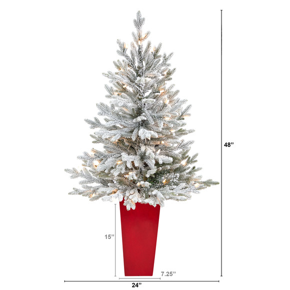 4 Flocked Fraser Fir Artificial Christmas Tree with 200 Warm White Lights and 481 Bendable Branches in Red Planter - SKU #T2315 - 1