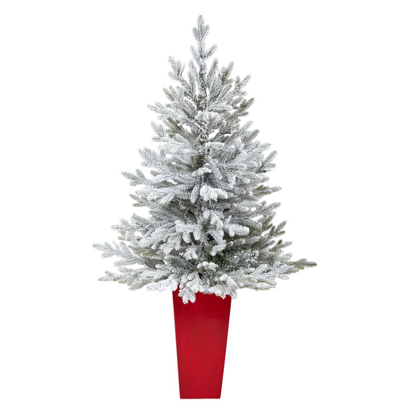 4 Flocked Fraser Fir Artificial Christmas Tree with 200 Warm White Lights and 481 Bendable Branches in Red Planter - SKU #T2315 - 2