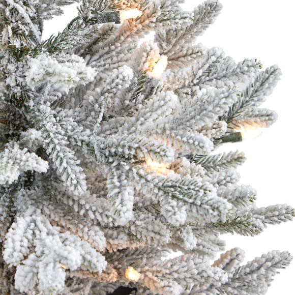 4 Flocked Fraser Fir Artificial Christmas Tree with 200 Warm White Lights and 481 Bendable Branches in Red Planter - SKU #T2315 - 3