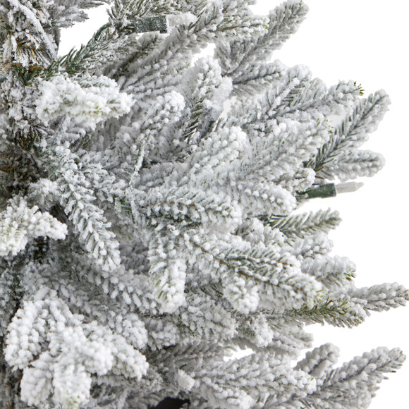 4 Flocked Fraser Fir Artificial Christmas Tree with 200 Warm White Lights and 481 Bendable Branches in Red Planter - SKU #T2315 - 4