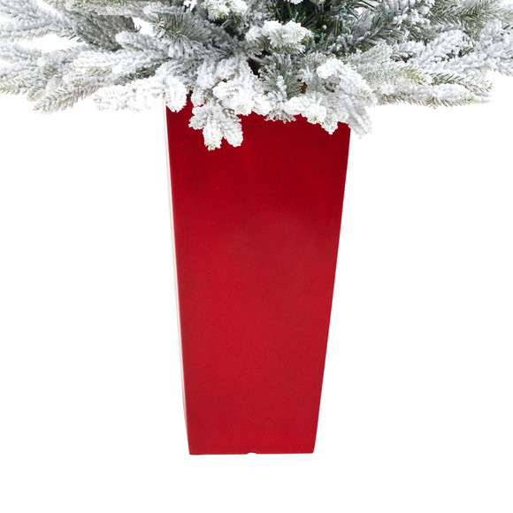 4 Flocked Fraser Fir Artificial Christmas Tree with 200 Warm White Lights and 481 Bendable Branches in Red Planter - SKU #T2315 - 5