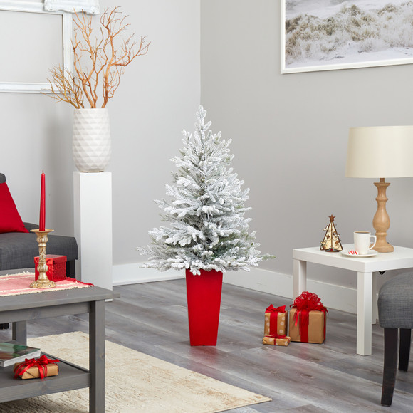4 Flocked Fraser Fir Artificial Christmas Tree with 200 Warm White Lights and 481 Bendable Branches in Red Planter - SKU #T2315 - 8