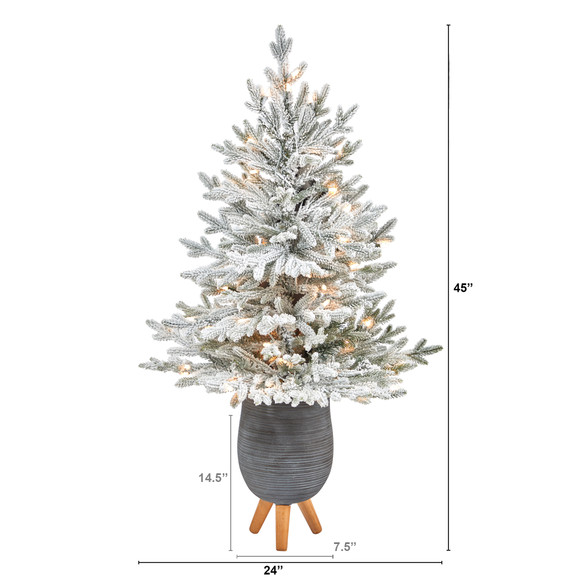 45 Flocked Fraser Fir Artificial Christmas Tree with 200 Warm White Lights and 481 Bendable Branches in Gray Planter with Stand - SKU #T2316 - 1