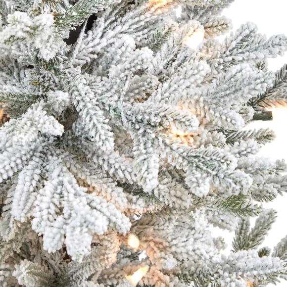 45 Flocked Fraser Fir Artificial Christmas Tree with 200 Warm White Lights and 481 Bendable Branches in Gray Planter with Stand - SKU #T2316 - 3