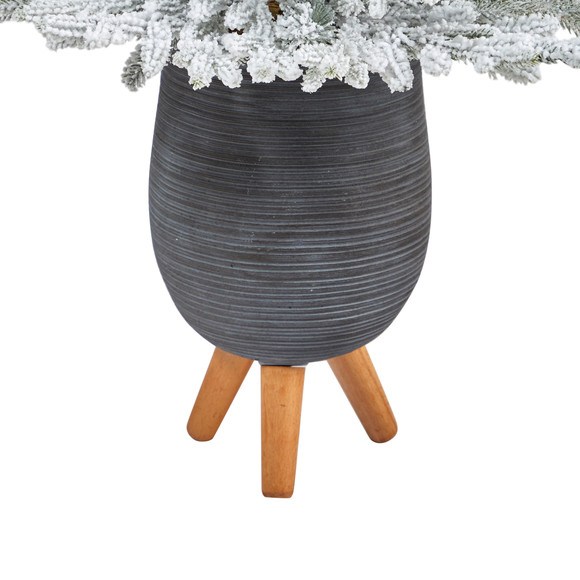 45 Flocked Fraser Fir Artificial Christmas Tree with 200 Warm White Lights and 481 Bendable Branches in Gray Planter with Stand - SKU #T2316 - 5