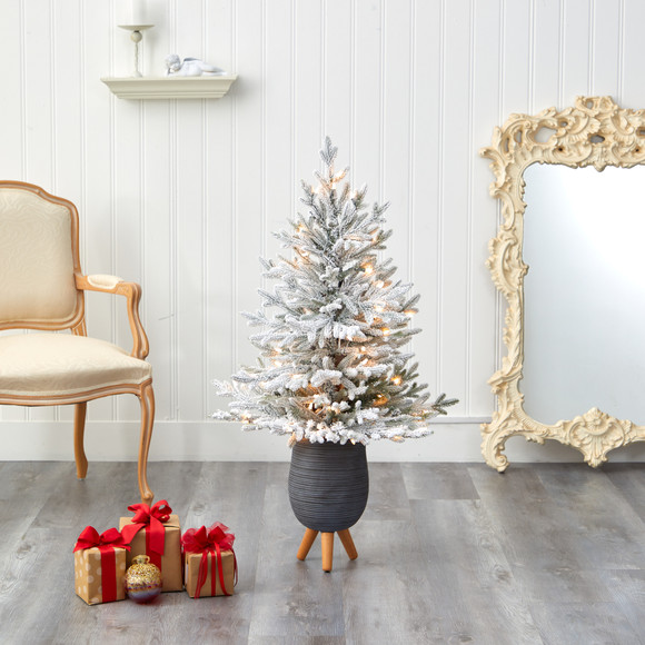 45 Flocked Fraser Fir Artificial Christmas Tree with 200 Warm White Lights and 481 Bendable Branches in Gray Planter with Stand - SKU #T2316 - 6