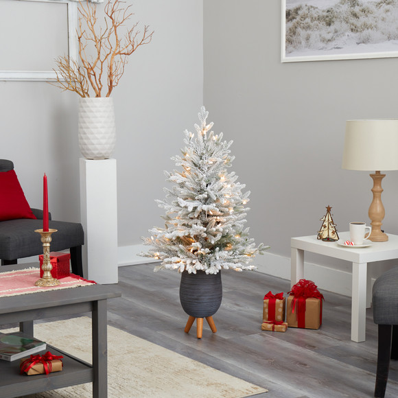 45 Flocked Fraser Fir Artificial Christmas Tree with 200 Warm White Lights and 481 Bendable Branches in Gray Planter with Stand - SKU #T2316 - 7