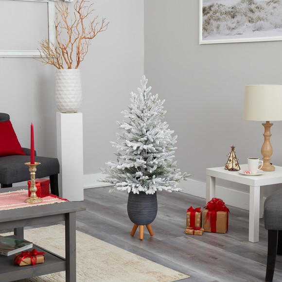45 Flocked Fraser Fir Artificial Christmas Tree with 200 Warm White Lights and 481 Bendable Branches in Gray Planter with Stand - SKU #T2316 - 8