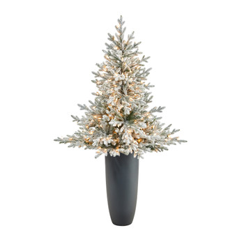 5 Flocked Fraser Fir Artificial Christmas Tree with 300 Warm White Lights and 967 Bendable Branches in Gray Planter - SKU #T2318
