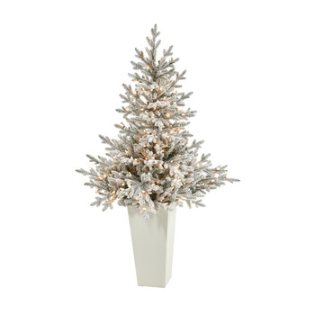 57 Flocked Fraser Fir Artificial Christmas Tree with 300 Warm White Lights and 967 Bendable Branches in Tower Planter - SKU #T2319-WH