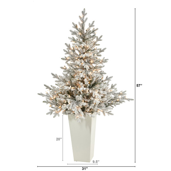 57 Flocked Fraser Fir Artificial Christmas Tree with 300 Warm White Lights and 967 Bendable Branches in Tower Planter - SKU #T2319-WH - 1