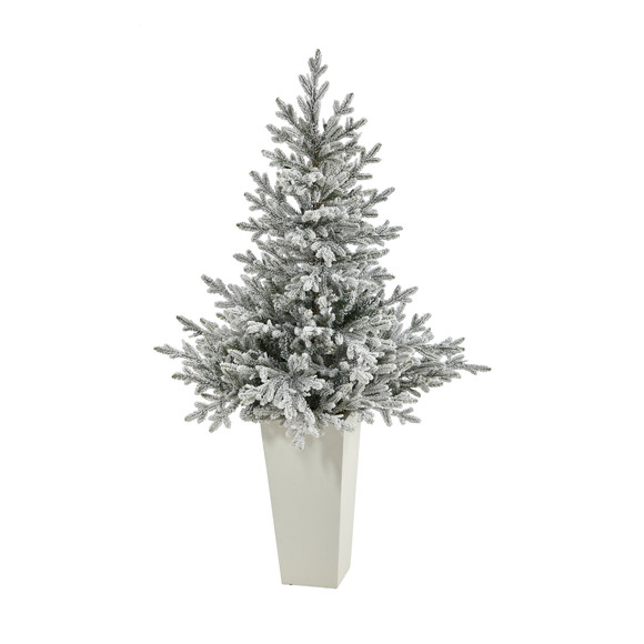 57 Flocked Fraser Fir Artificial Christmas Tree with 300 Warm White Lights and 967 Bendable Branches in Tower Planter - SKU #T2319-WH - 2
