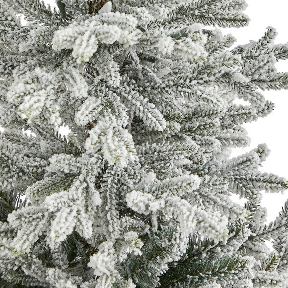 57 Flocked Fraser Fir Artificial Christmas Tree with 300 Warm White Lights and 967 Bendable Branches in Tower Planter - SKU #T2319-WH - 4