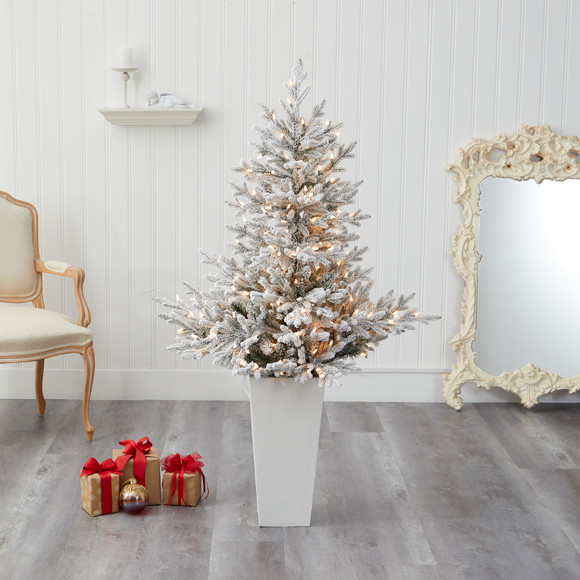 57 Flocked Fraser Fir Artificial Christmas Tree with 300 Warm White Lights and 967 Bendable Branches in Tower Planter - SKU #T2319-WH - 6