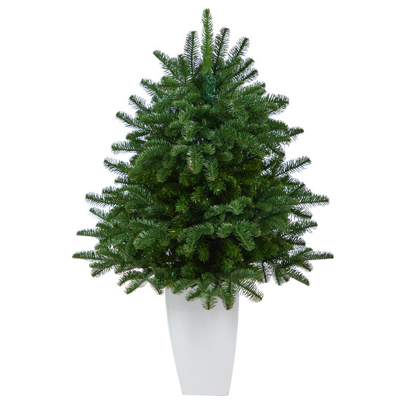 38 South Carolina Spruce Artificial Christmas Tree with 458 Bendable Branches in White Metal Planter - SKU #T2320