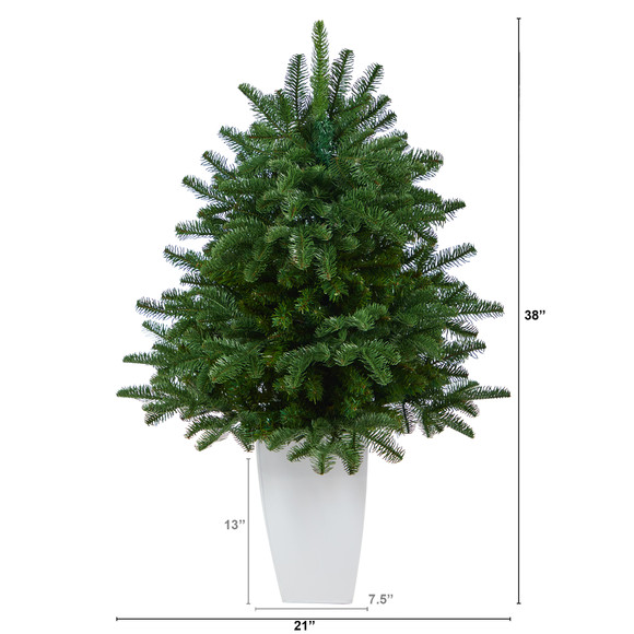 38 South Carolina Spruce Artificial Christmas Tree with 458 Bendable Branches in White Metal Planter - SKU #T2320 - 1