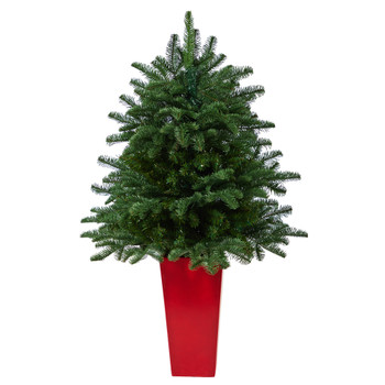 3.5 South Carolina Spruce Artificial Christmas Tree with 458 Bendable Branches in Red Tower Planter - SKU #T2322