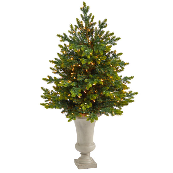 44 North Carolina Fir Artificial Christmas Tree with 150 Clear Lights and 563 Bendable Branches in Sand Colored Urn - SKU #T2323