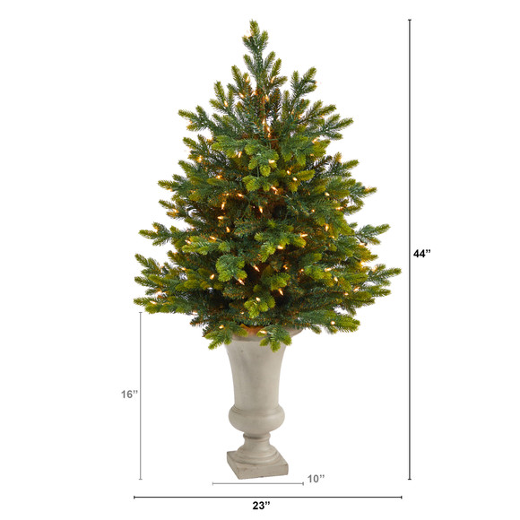 44 North Carolina Fir Artificial Christmas Tree with 150 Clear Lights and 563 Bendable Branches in Sand Colored Urn - SKU #T2323 - 1