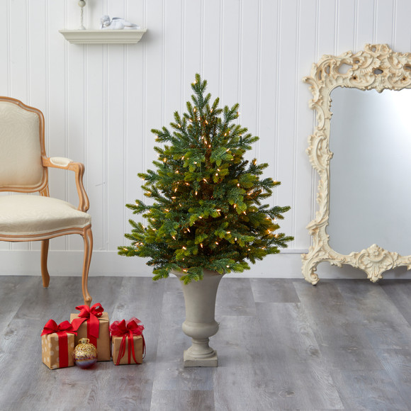 44 North Carolina Fir Artificial Christmas Tree with 150 Clear Lights and 563 Bendable Branches in Sand Colored Urn - SKU #T2323 - 6
