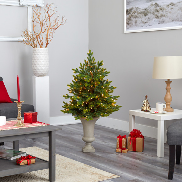 44 North Carolina Fir Artificial Christmas Tree with 150 Clear Lights and 563 Bendable Branches in Sand Colored Urn - SKU #T2323 - 7
