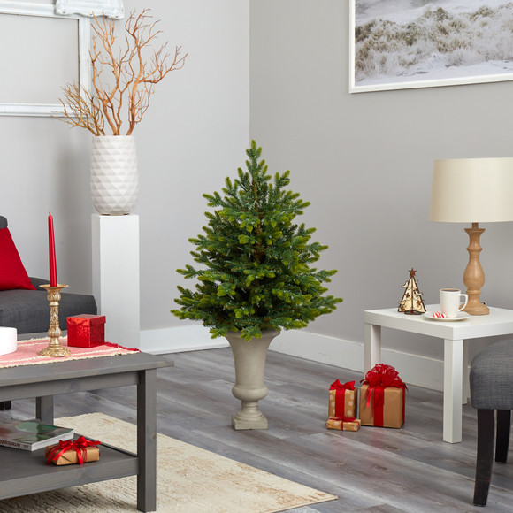 44 North Carolina Fir Artificial Christmas Tree with 150 Clear Lights and 563 Bendable Branches in Sand Colored Urn - SKU #T2323 - 8